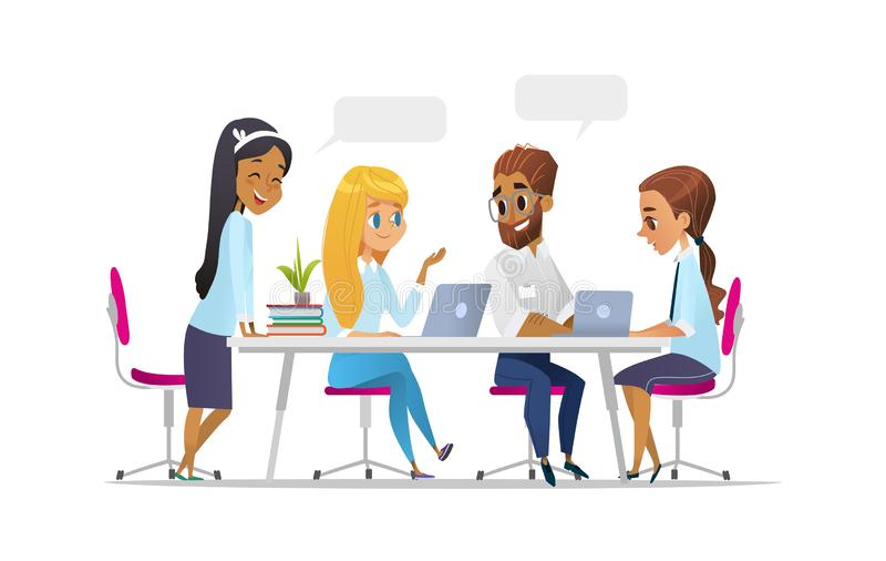 Spotkań ludzie biznesu w kreskówka stylu Drużyna dyskutuje ogólnospołeczną sieć, wiadomość, gadka, dialog mowy bąble blisko one ilustracji