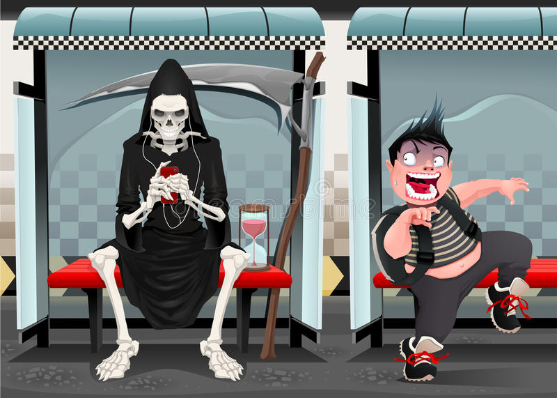 Spotkania na staci metru. royalty ilustracja
