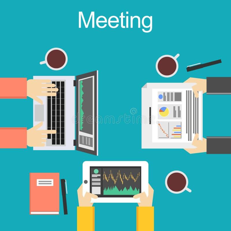 Spotkania pojęcia ilustracja Dyskusi pojęcia ilustracja Brainstorming pojęcie Definiuje wniosek ilustracji