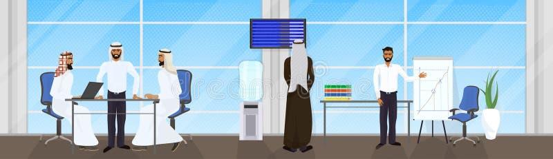 Spotkanie Arabscy ludzie biznesu grup, Muzułmańscy biznesmeni Brainstorming, pojęcie, prezentaci Lub konferenci ilustracja wektor