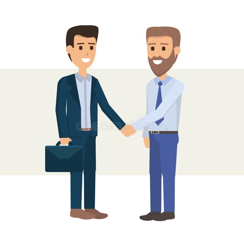 Spotkanie dwa Dwa biznesmenów biznesmena ręki potrząśnięcie royalty ilustracja