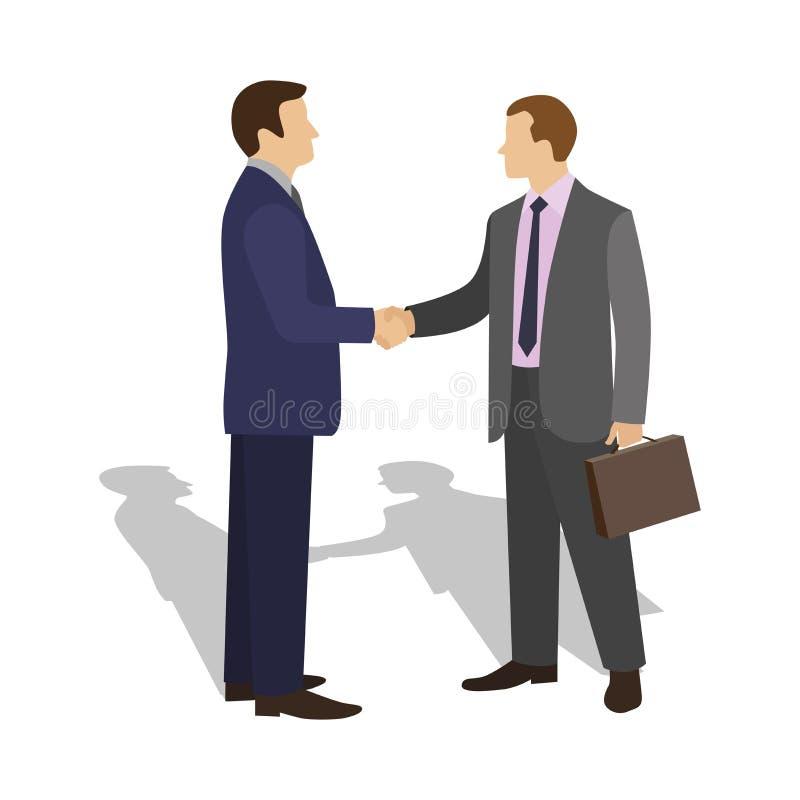 Spotkanie dwa biznesmena i biznesowego uścisk dłoni royalty ilustracja