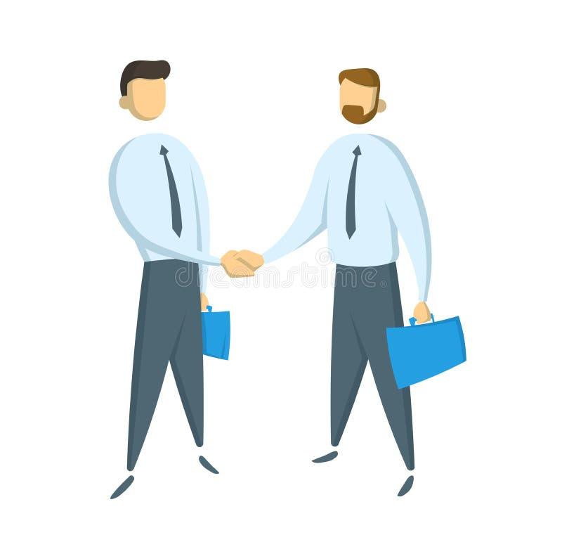 Spotkanie dwa biznesmena i biznesowego uścisk dłoni Płaska wektorowa ilustracja pojedynczy białe tło ilustracja wektor