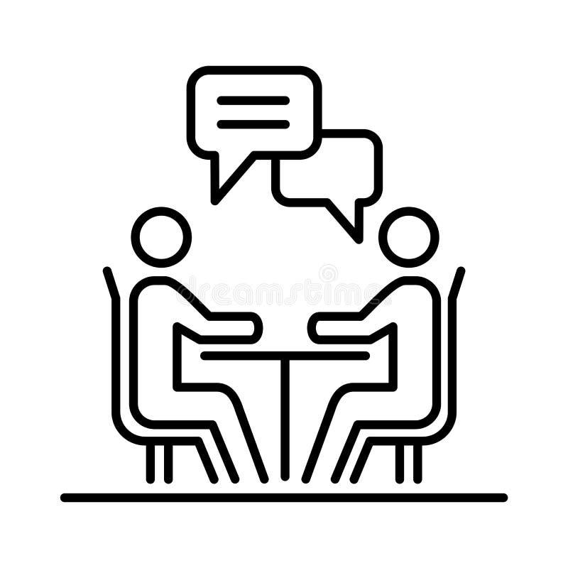Spotkanie ikony prostej kreskowej płaskiej ilustraci ludzie biznesu royalty ilustracja