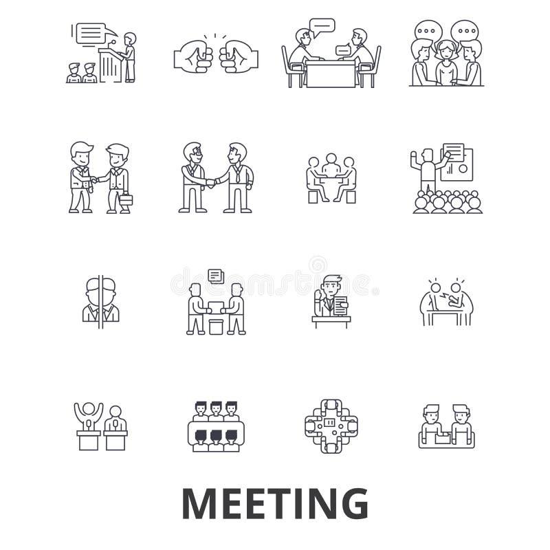 Spotkanie, konferencja, biznesowy pokój, prezentacja, biuro, uścisk dłoni, ordynacyjne kreskowe ikony Editable uderzenia mieszkan ilustracja wektor