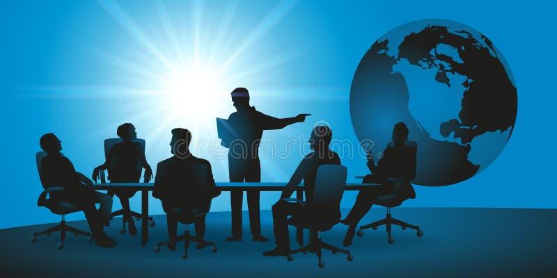 Spotkanie międzynarodowa firma, rewizja dla rozwiązania, praca zespołowa royalty ilustracja