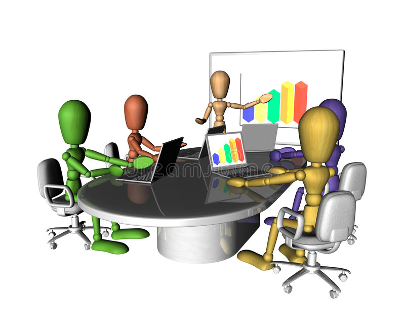 spotkanie prezentacj biznesowi ludzie royalty ilustracja