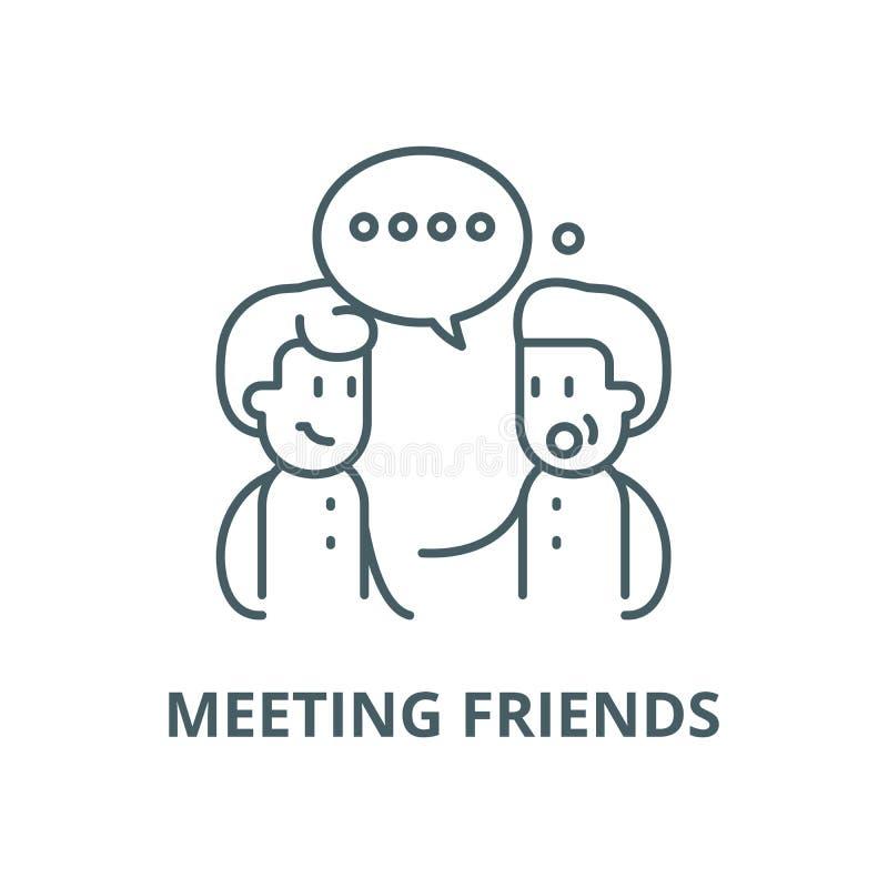 Spotkanie przyjaciół wektoru linii ikona, liniowy pojęcie, konturu znak, symbol ilustracji
