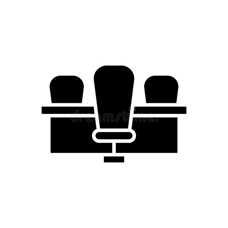 Spotkanie stołu czerni ikony pojęcie Spotkanie stołu płaski wektorowy symbol, znak, ilustracja ilustracja wektor