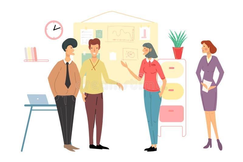 spotkanie w interesach ludzi Dru?ynowa dyskusja Negocjuje nowych projekty i plany Strategii biznesowej dyskusji kreskówki wektor ilustracji