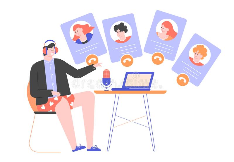 Spotkanie wideo online, zdalna praca w domu royalty ilustracja
