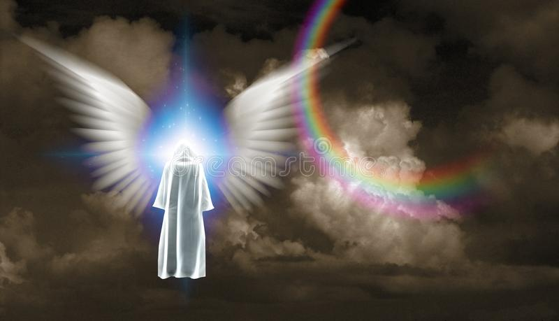 Spotkanie z aniołem ilustracja wektor