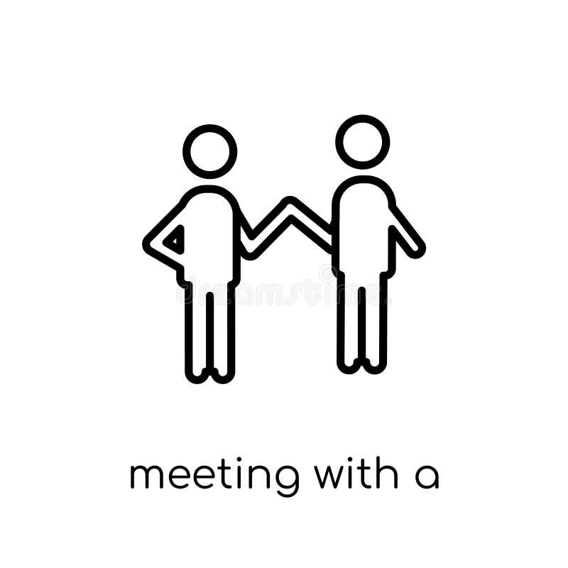 Spotkanie z przyjaciel ikoną Modny nowożytny płaski liniowy wektorowy mee ilustracja wektor