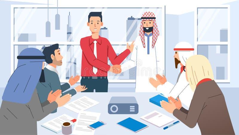 Spotkanie ze współpracą biznesową z Arabicbiznesmenem, spotkanie na ilustracji wektora sali konferencyjnej obrazy stock