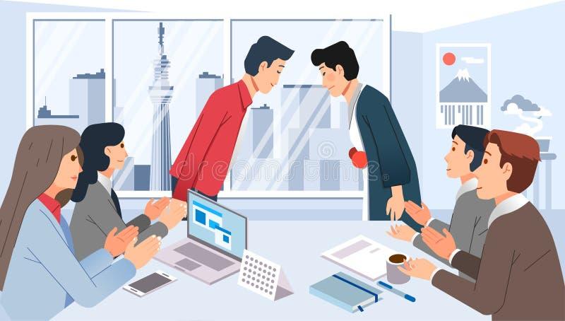 Spotkanie ze współpracą biznesową z japonią, ludzie zbierający się w sali konferencyjnej i przedstawiający pozdrowienia zdjęcie stock