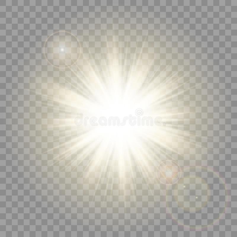 Sun Rays With Lens Flare On Transparent Vector Background. stock illustration