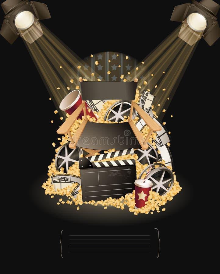 In the spotlight. Movie items vector illustration