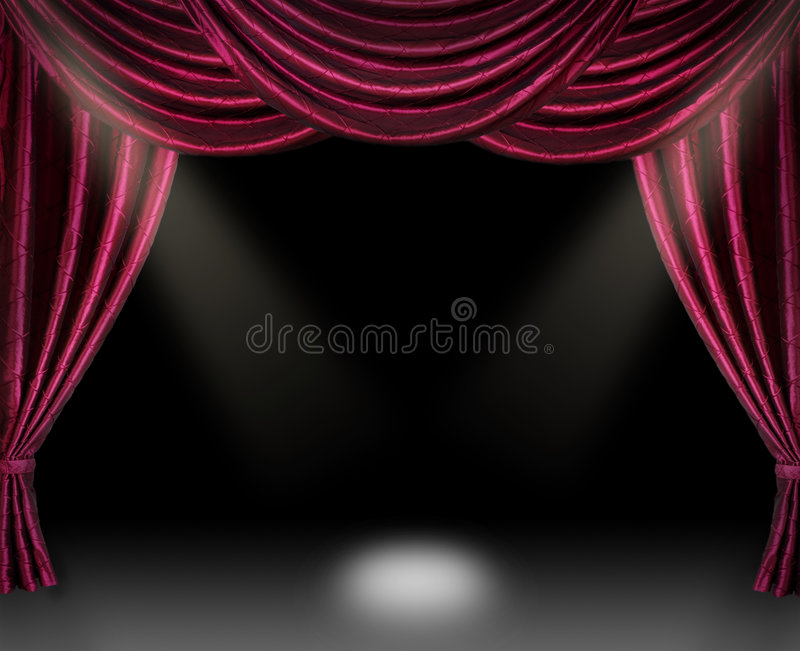 In the spotlight. Stage curtain with spotlight on black background royalty free stock images