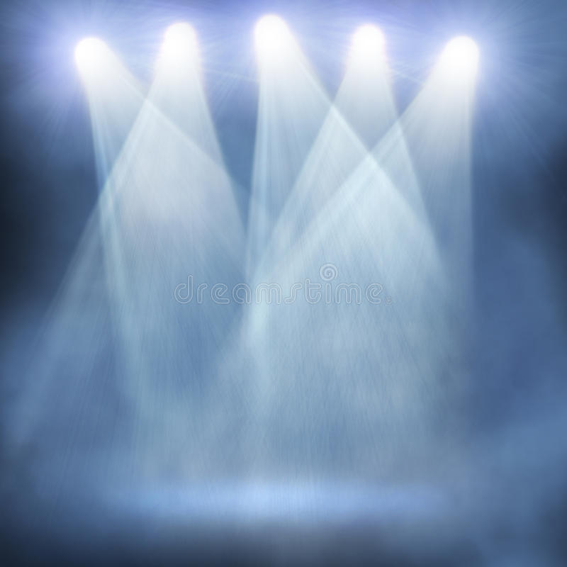 Spotlight background. Spotlight blue on smog background royalty free stock images