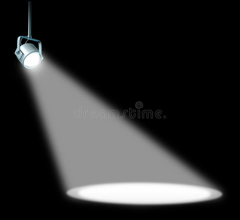 Spotlight on black vector illustration