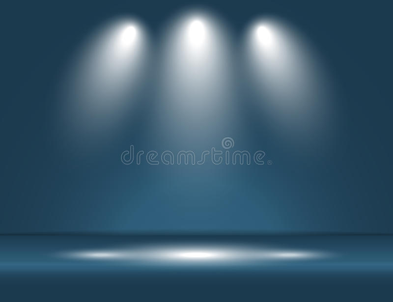 Spotlight blue light rays room studio background vector stock illustration