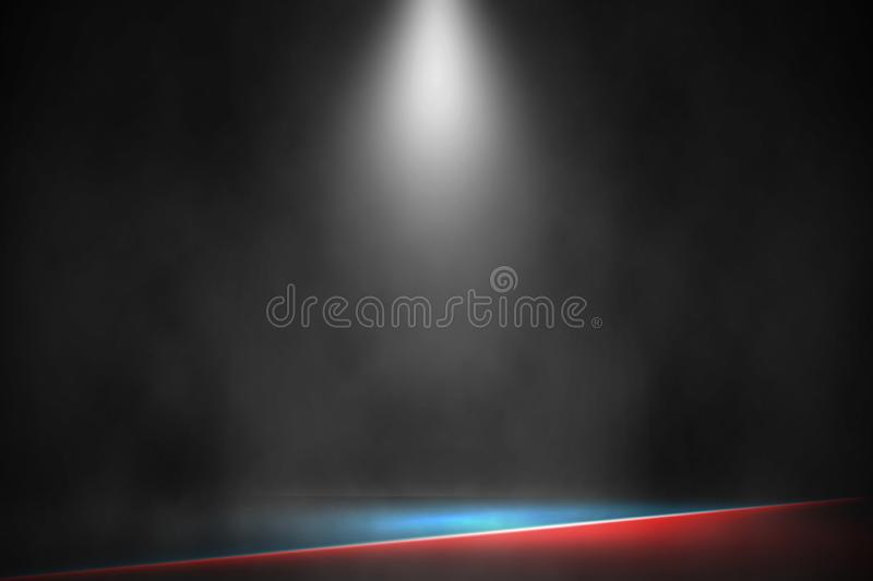 Spotlight boxing stage fight and match red and blue background, White lamp boxing stage background royalty free stock image