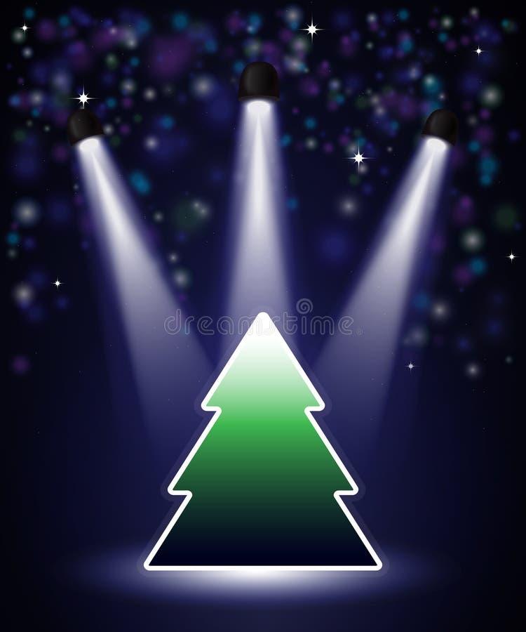 Spotlight Christmas tree royalty free illustration