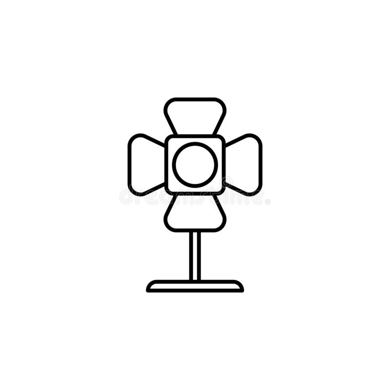 Spotlight cinema icon. Simple thin line, outline vector of movie, cinema, film, screen, flicks icons for UI and UX, website or. Mobile application on white royalty free illustration