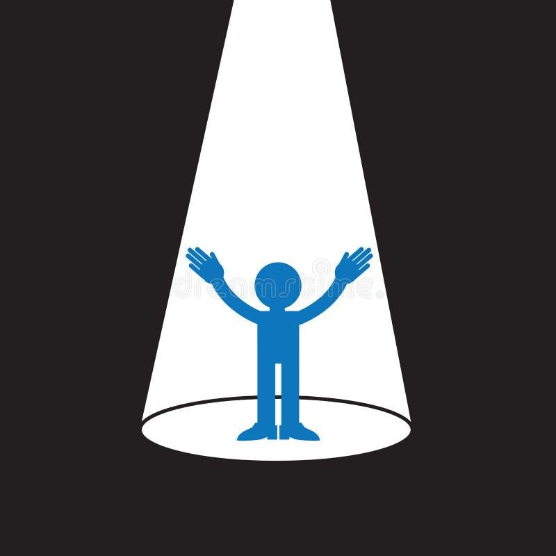 Spotlight Figure. Blue figure silhouette in spotlight vector illustration