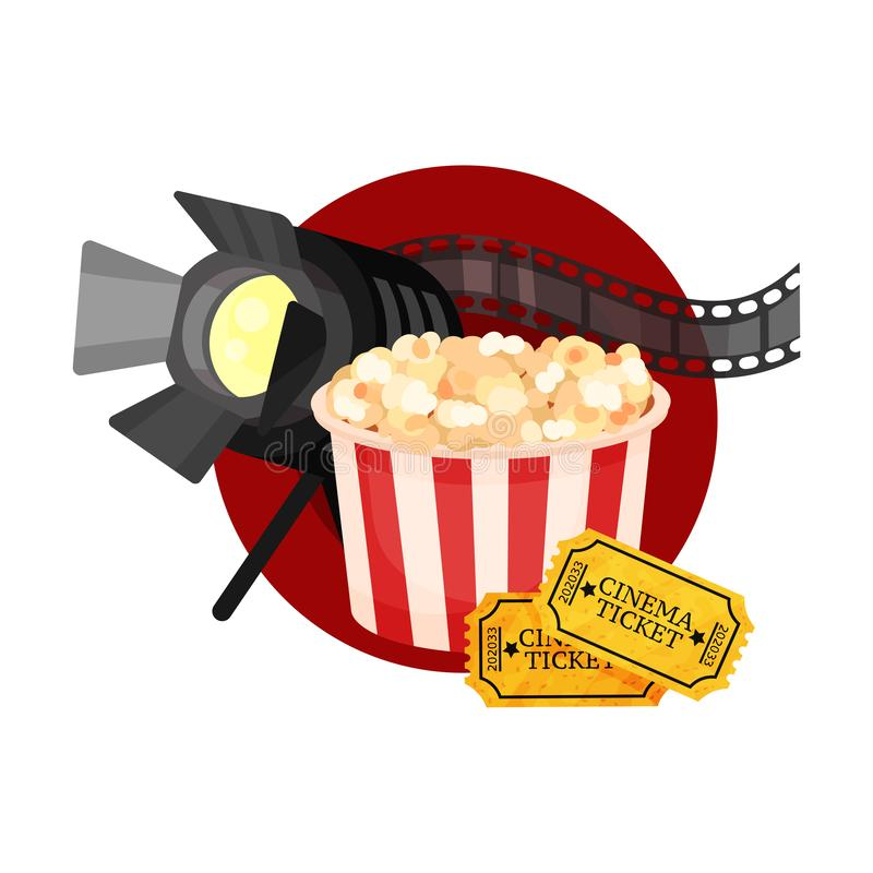 Spotlight, film strip, popcorn and tickets in a red circle. Vector illustration on a white background. Spotlight, film strip, popcorn and tickets in a red vector illustration