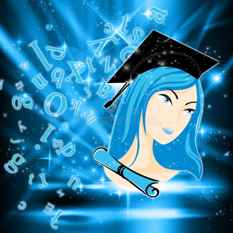 Spotlight on a Genius Student. An abstract illustration of a genius girl stock illustration