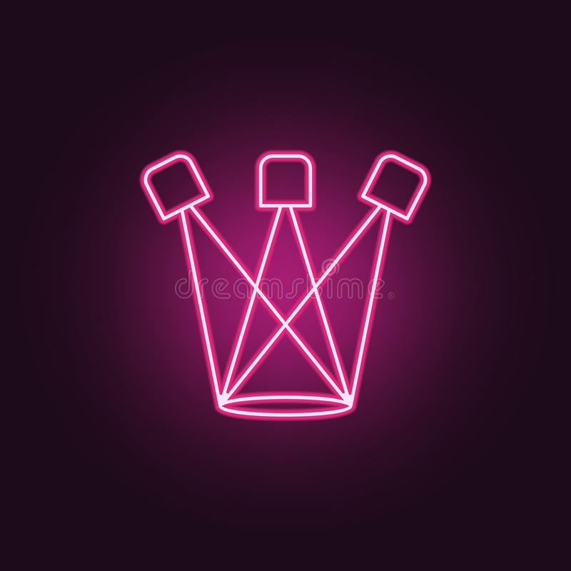 Spotlight icon. Elements of Spotlight stage in neon style icons. Simple icon for websites, web design, mobile app, info graphics. On dark gradient background royalty free illustration