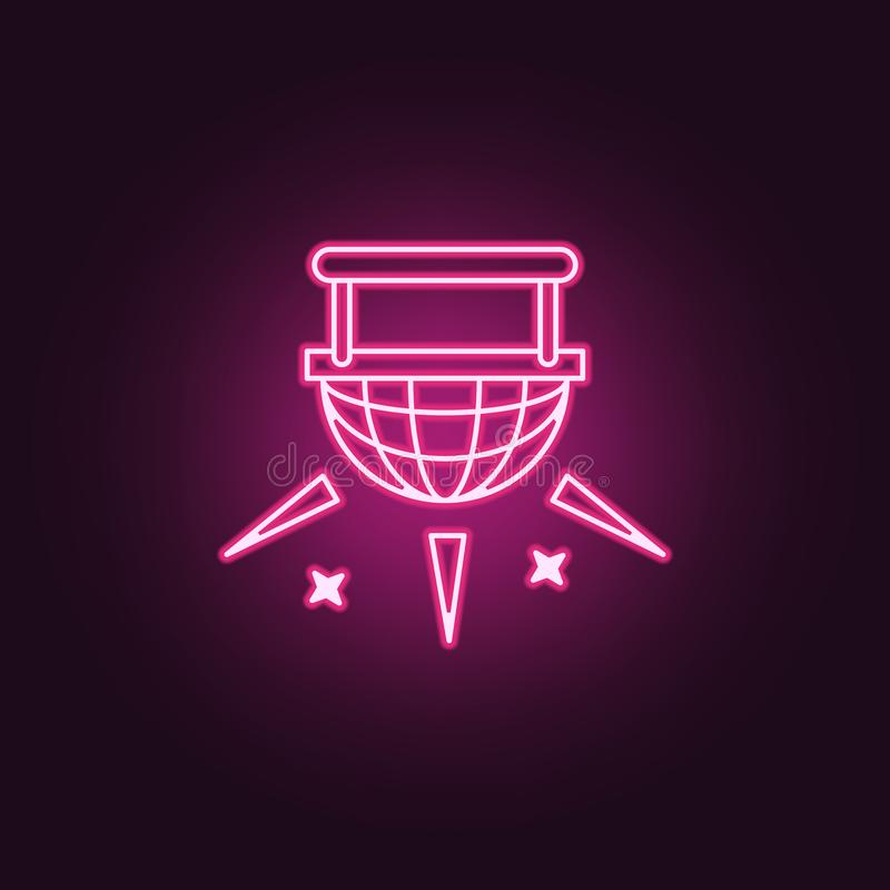 Spotlight icon. Elements of Spotlight stage in neon style icons. Simple icon for websites, web design, mobile app, info graphics. On dark gradient background vector illustration