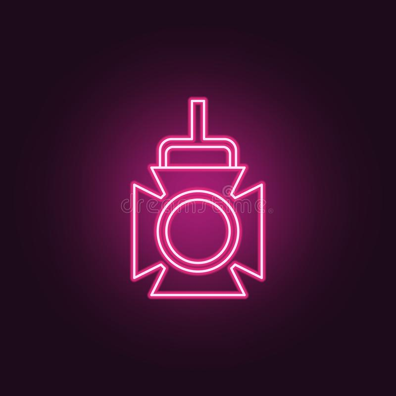 Spotlight icon. Elements of Spotlight stage in neon style icons. Simple icon for websites, web design, mobile app, info graphics. On dark gradient background stock illustration