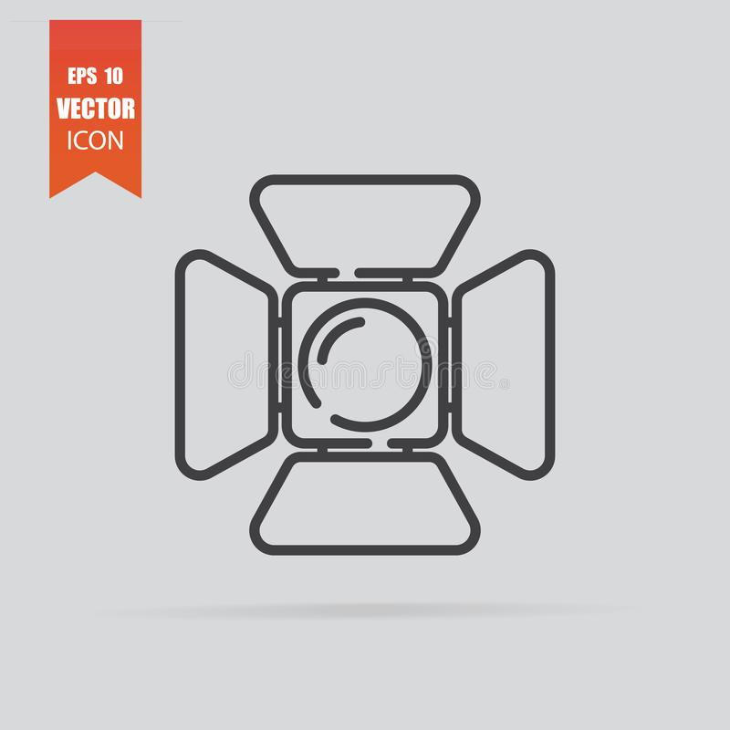 Spotlight icon in flat style isolated on grey background stock images