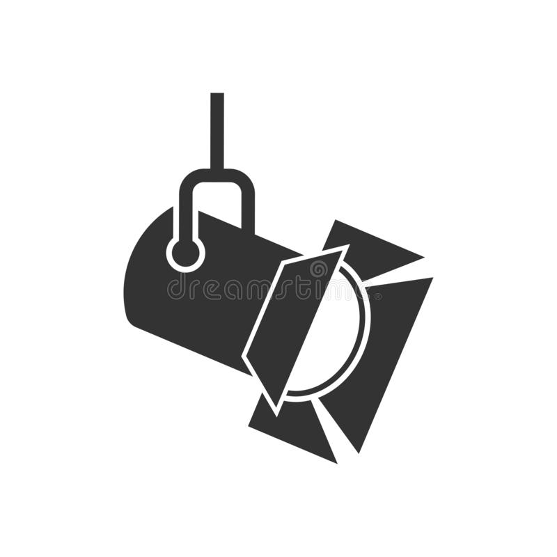 Spotlight icon in flat style. Lamp vector illustration on white isolated background. Flashlight business concept vector illustration