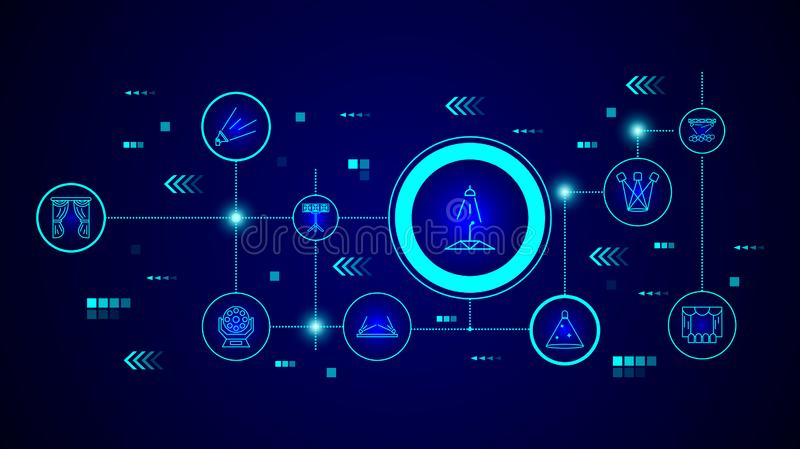 Spotlight icon. From Spotlight stage set. In the technological background stock illustration