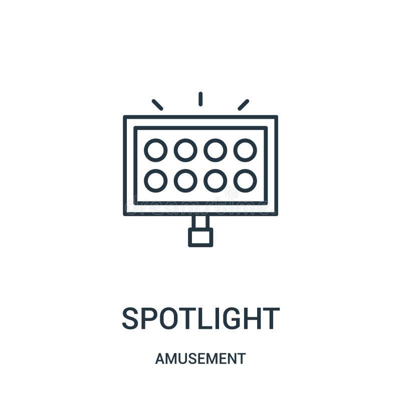 spotlight icon vector from amusement collection. Thin line spotlight outline icon vector illustration stock illustration