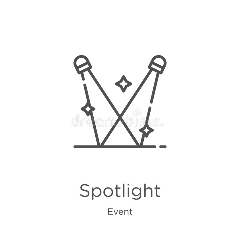 Spotlight icon vector from event collection. Thin line spotlight outline icon vector illustration. Outline, thin line spotlight. Spotlight icon. Element of event vector illustration
