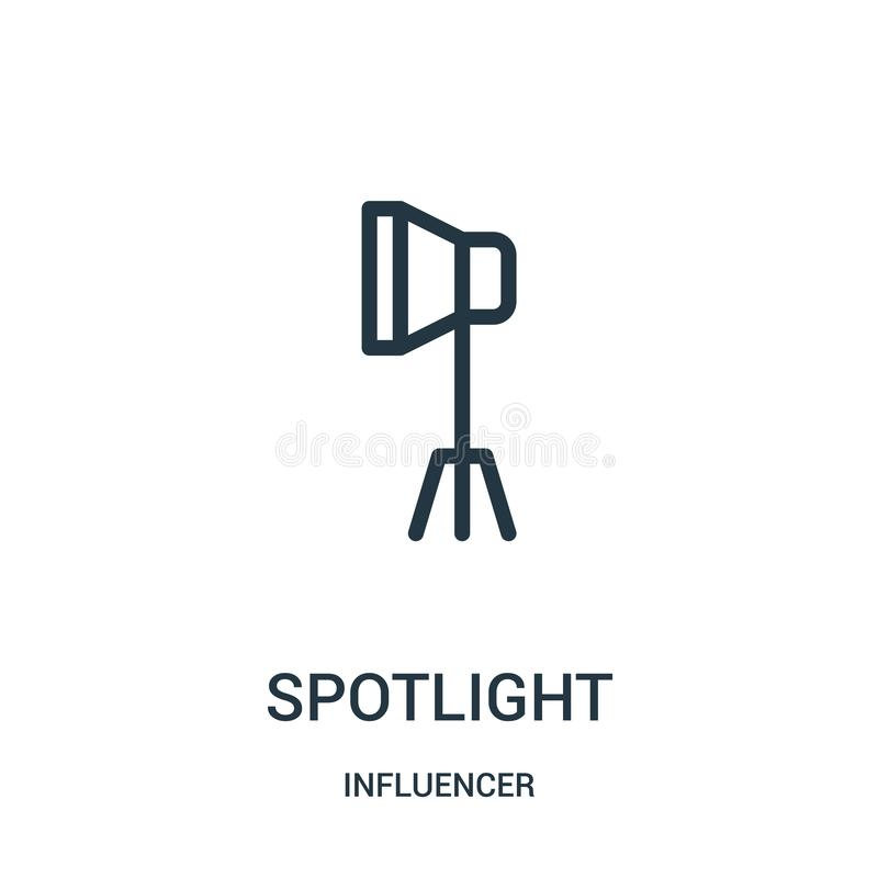 Spotlight icon vector from influencer collection. Thin line spotlight outline icon vector illustration. Linear symbol for use on web and mobile apps, logo royalty free illustration