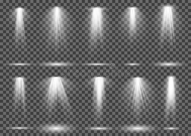 Spotlight light. Projection illumination stage art lamp studio, shine floodlight beam spot project theatre concert club. Vector set stock illustration