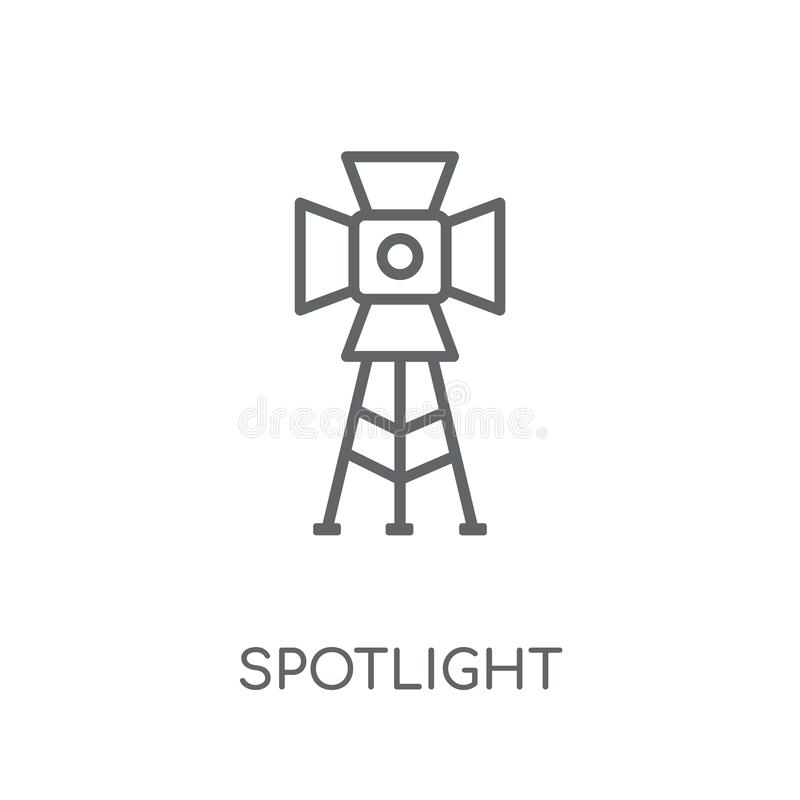 Spotlight linear icon. Modern outline Spotlight logo concept on. White background from Cinema collection. Suitable for use on web apps, mobile apps and print vector illustration