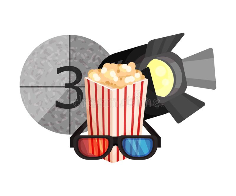 Spotlight, popcorn, frame with the number 3 and 3D glasses. Vector illustration on a white background. Spotlight, popcorn, frame with the number 3 and 3D vector illustration