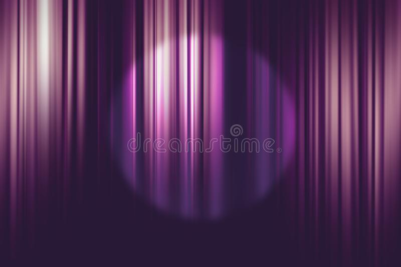 Spotlight on purple movie theater curtains background. Spotlight on purple movie theater curtains for background stock photo