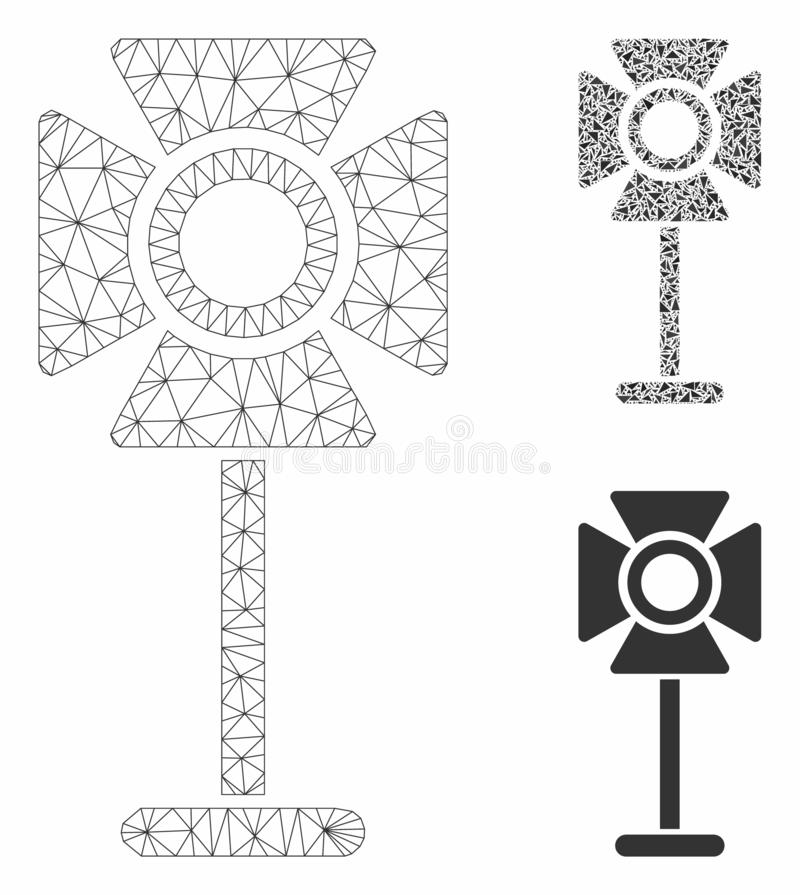 Spotlight Rack Vector Mesh Wire Frame Model and Triangle Mosaic Icon vector illustration