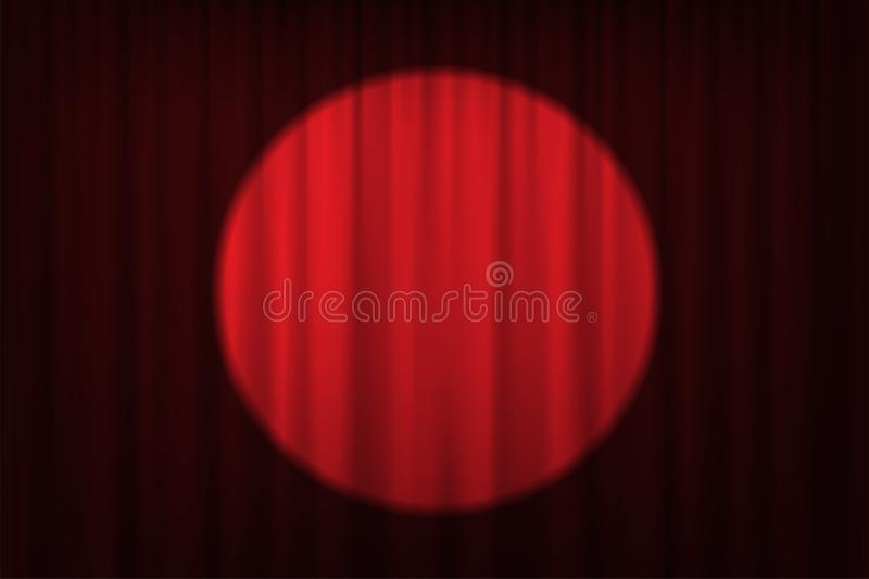 Spotlight on red curtains and chairs. Vector theater, cinema or circus background. stock illustration