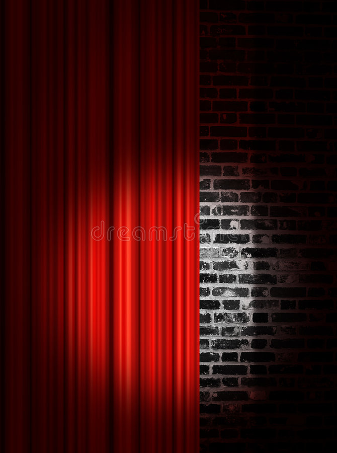 Spotlight On Red Stage Curtains Royalty Free Stock Photography