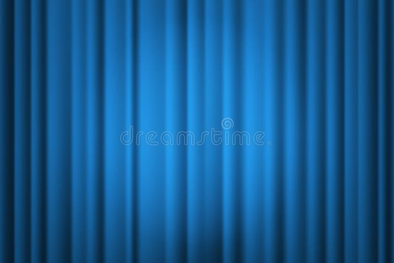 Spotlight on stage curtain. Theatrical drapes. Vector. Spotlight on blue stage curtain. Theatrical drapes. Vector illustration royalty free illustration