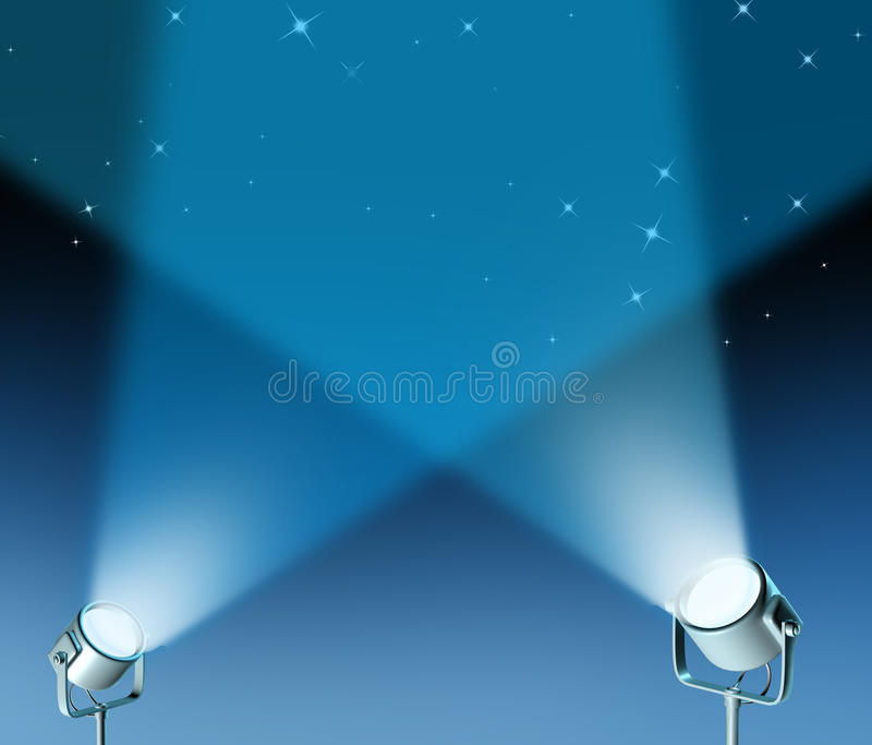 Spotlight stage with lights from the floor stock illustration