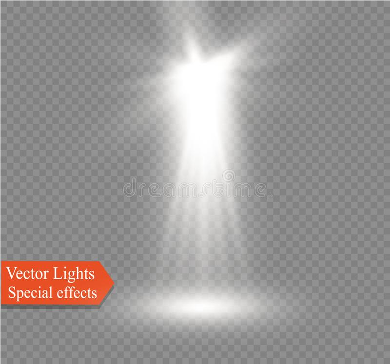 Spotlight on a transparent background. The spectral effect of a light flash with rays of light and magical brilliance. Glowing transparent vector light effect royalty free illustration
